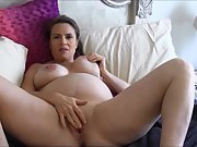 Mature pregnant wifey opens up her bod and masturbates