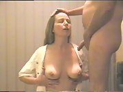 Hot wife masturbates, sucks and cums in her overalls