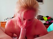 Music blowjob female - 2nd vid big titter sucks cock till oral creampie