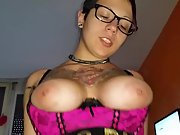 Busty tatted wife drinking jism after riding shaft