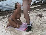 Thick titted wife having rear end bang-out on the beach
