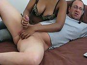 Wife providing me a handjob while on webcam